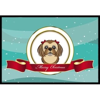 Carolines Treasures BB1559JMAT Chocolate Brown Shih Tzu Merry Christmas Indoor & Outdoor Mat 24 x 36 in.