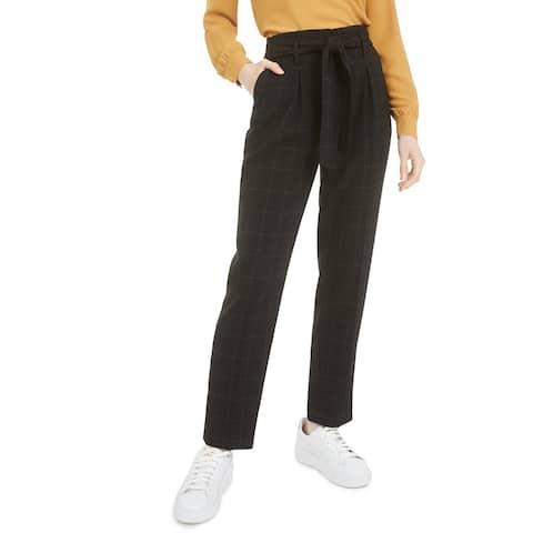 Bar III Women's Tie-Waist Windowpane-Print Pants Black Size 2