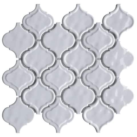 TileGen. Recycle Classic Lauretta Lantern Glass Mosaic in White Wall Tile (10 sheets/7.2sqft.)