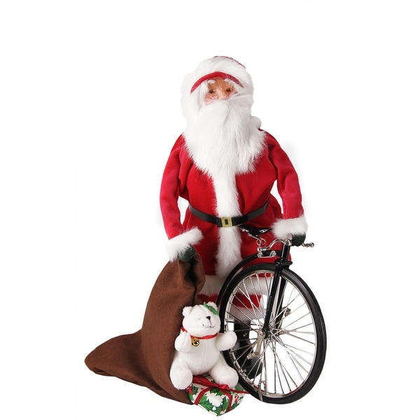 """13"""" Santa Claus with Old-Fashioned Penny-Farthing Unicycle Christmas Caroler Figure - RED"""