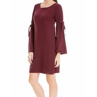 Max Studio Burgundy Tie Bell-Sleeve Large Sweater Dress