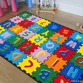"Allstar Kids / Baby Room Area Rug. A-Z 1-9 Learn ABC / Alphabet Puzzle. Bright Colorful Vibrant Colors (3' 3"" x 4' 10"")"