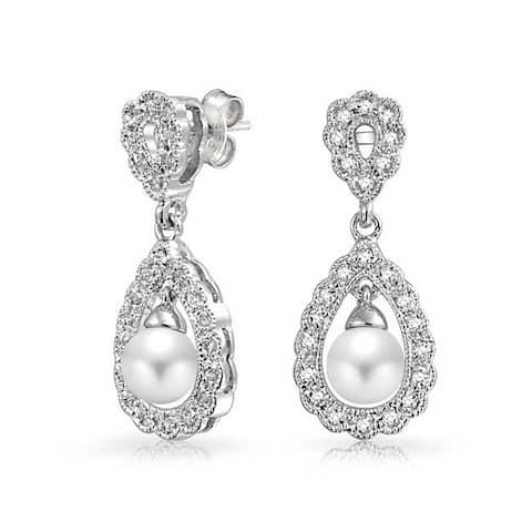 Bridal Filigree White Dangle Imitation Pearl Earrings Silver Plated