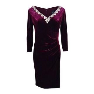Alex Evenings Women's Plus Velvet Embellished Sheath Dress - Wine