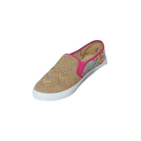 Catchfly Casual Shoes Womens Canvas Studs Khaki Floral
