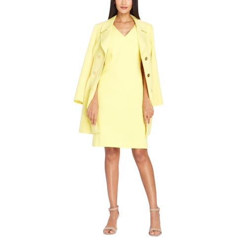 Tahari ASL Womens Trench Coat Spring Double Breasted Yellow 2