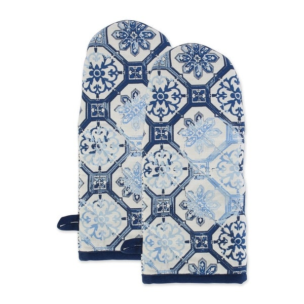 "Set of 2 Blue with Lisbon Print Cotton Oven Mitt 13"". Opens flyout."