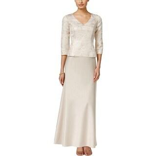 Alex Evenings Womens Petites Evening Dress 3/4 Sleeves Full Length - 12P