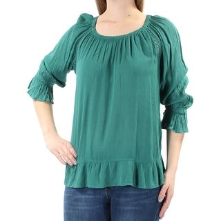 INC Womens Teal Ruched 3/4 Sleeve Scoop Neck Peasant Top  Size S