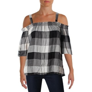 4Our Dreamers Womens Peasant Top Off The Shoulder Plaid