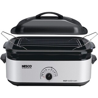 Nesco 4818-47, 18 Qt Roaster, Porcelain Cookwell, Silver Body