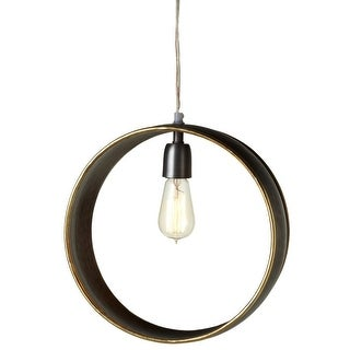 "13"" Bronze Colored Galvanized Finish Decorative Round Pendant with Gold Edge"