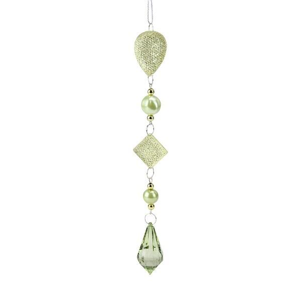 "9"" Winter Solace Dazzling Green/Gold Beaded Teardrop Pendant Christmas Ornament - green"