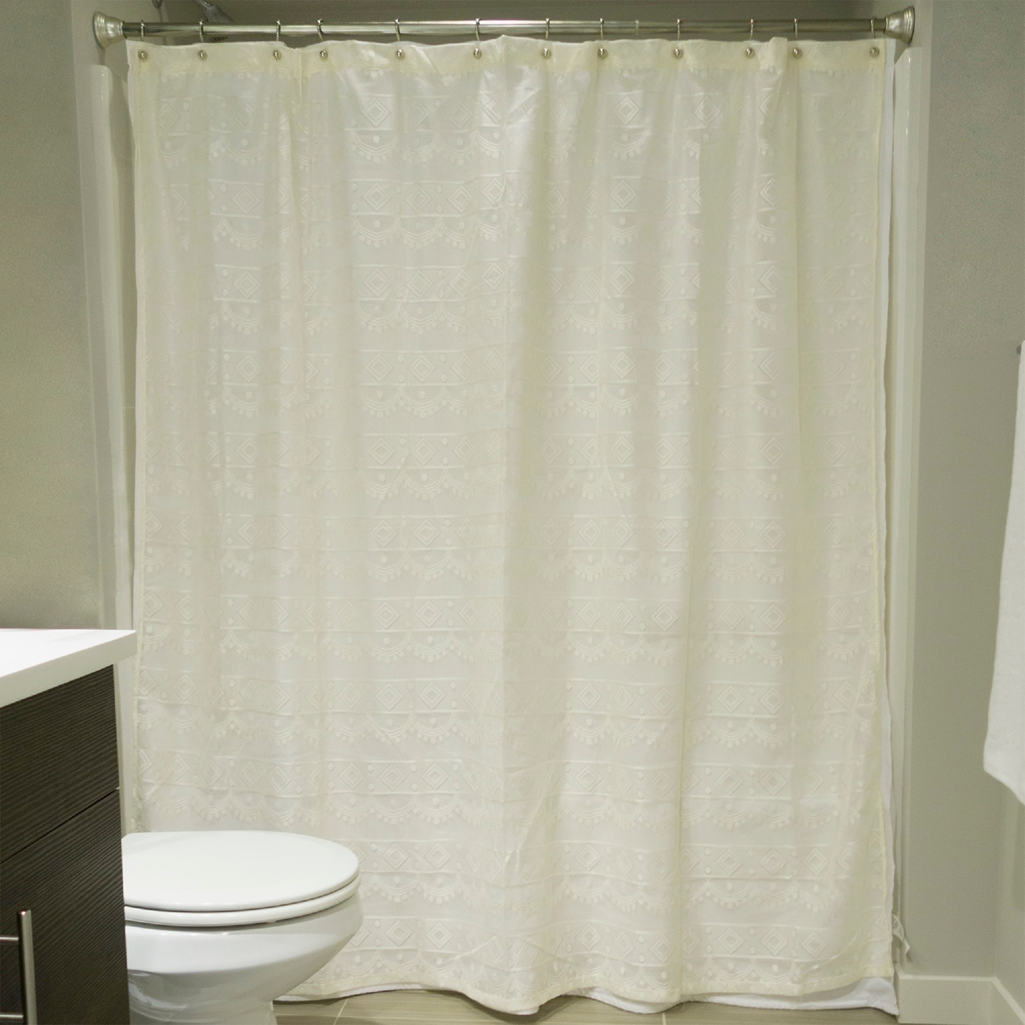 Shop Cream White Diamond Lace Patterned Decorative Square Shower Curtain 72 X 72 Overstock 22579249