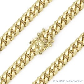 14k Curved Miami Cuban Link Chain Gold Plated Over Pure 925 Sterling