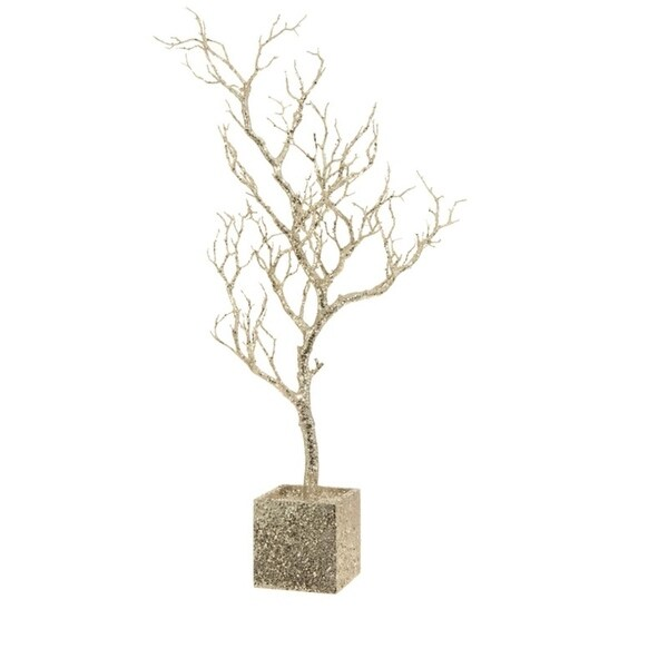 "31"" Silent Luxury Champagne Gold Sequin Glitter Twig Tree Christmas Decor"