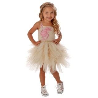 Ooh! La La! Couture Girls Eggnog Glitter Embroidered Emma Tutu Dress