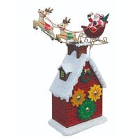 """Pack of 2 Santa and Reindeer Rooftop Gear Table Top Decorations 10.3"""" - RED"""