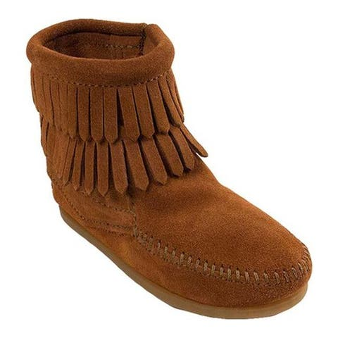 Minnetonka Children's Side Zip Double Fringe Brown Suede