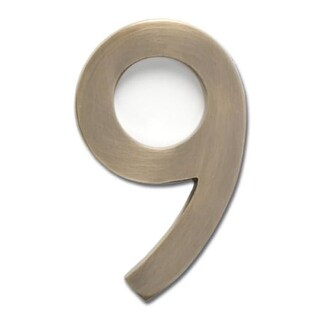 Architectural Mailboxes 3582-9 4 Inch Solid Cast Hand Finished Brass House Numbers