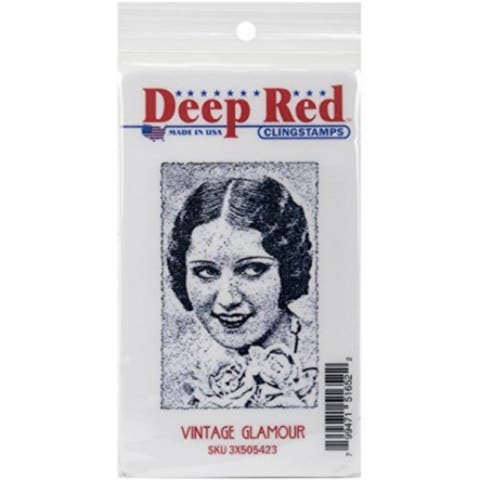 Deep Red Stamps Vintage Glamour Rubber Cling Stamp - 1.9 x 2.9
