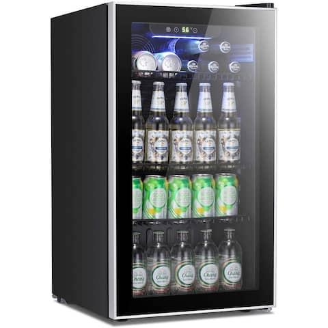 Beverage Refrigerator Cooler - 120 Can Mini Fridge Glass Door