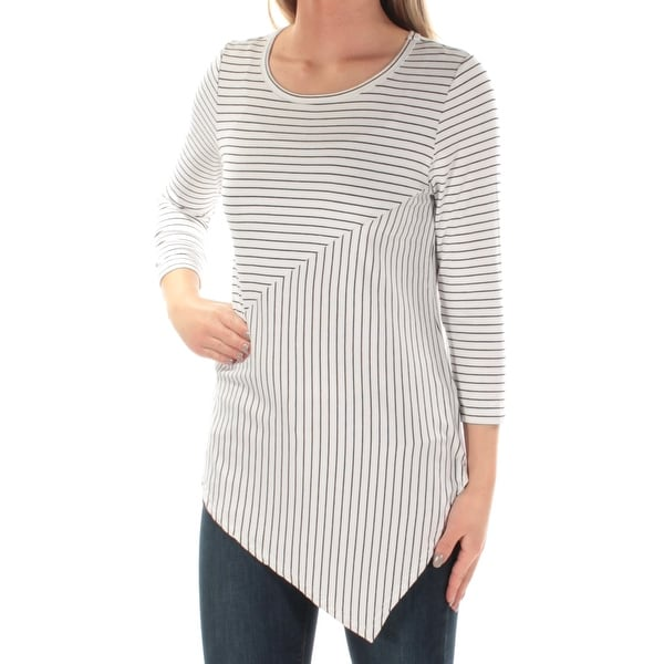 73bc1ef5d4a Shop Womens White Black Striped 3 4 Sleeve Jewel Neck Top Size XS - On Sale  - Free Shipping On Orders Over  45 - Overstock.com - 21591755