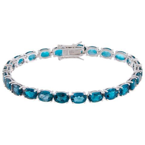 Oval-Cut London Blue Topaz Tennis Style Bracelet, Sterling Silver