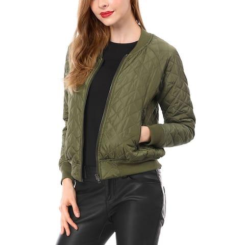 Unique Bargains Women Quilted Zip Up Raglan Sleeves Bomber Jacket