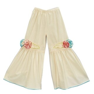 Girls Ivory Yellow Fuchsia Blue Floral Accents Flare Pants 7-10