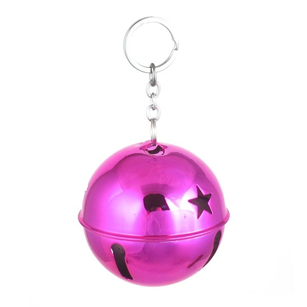 Xmas Purse Metal Hollow Design Keychain Ring Bell Ornament Fuchsia 80mm Dia