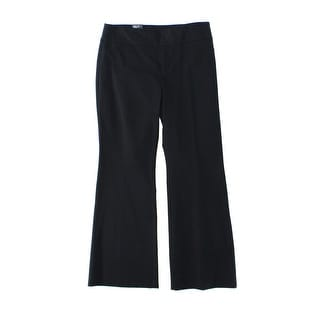 INC NEW Deep Black Womens Size 14 Wide Leg Trouser Stretch Dress Pants