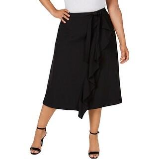 Calvin Klein Womens Plus Wrap Skirt Ruffled A-Line - Black