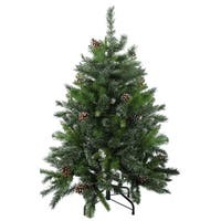 4' Snowy Delta Pine with Pine Cones Artificial Christmas Tree - Unlit