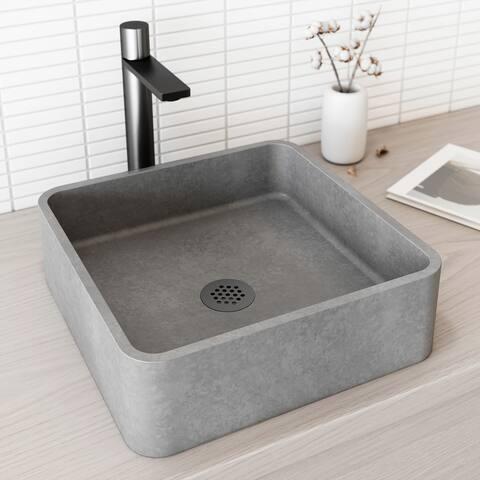 VIGO Concreto Stone Composite Square Bathroom Vessel Sink in Gray