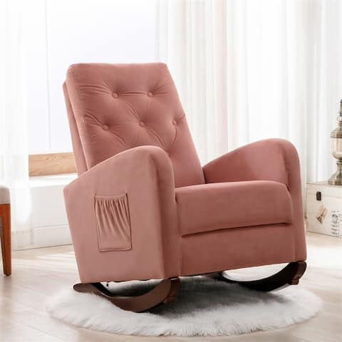 Merax Modern High Back Rocking Chair with Fabric Padded Seat