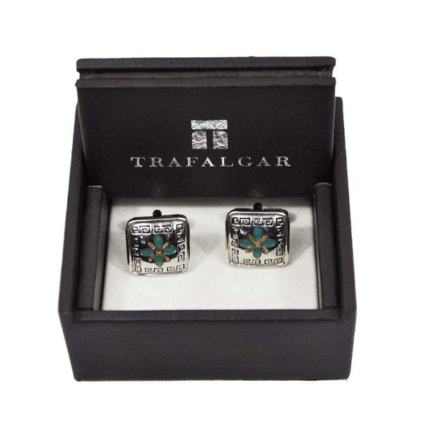Trafalgar Vintage Cuff Links Teal/Silver