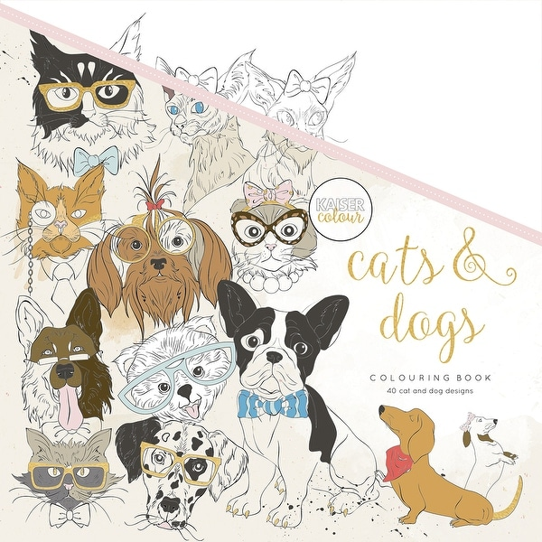 """KaiserColour Perfect Bound Coloring Book 9.75""""X9.75""""-Cats & Dogs"""