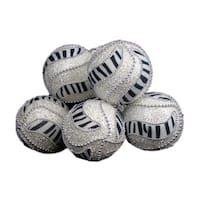 "6 December Diamonds Zebra Print Shatterproof Christmas Ball Ornaments 3.75"" - WHITE"