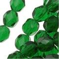 Czech Fire Polished Glass Beads 6mm Round Emerald Green (25) - Thumbnail 0