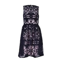 Tommy Hilfiger Women's Velvet Lace Fit & Flare Dress - Black