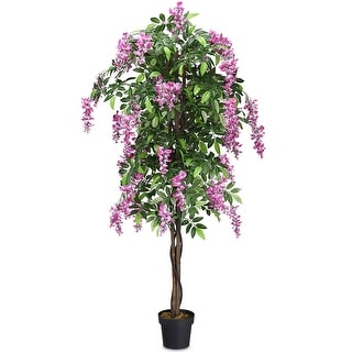 Gymax Artificial Wistera Silk Tree Pink Flower 6 Feet Home Holiday Decor - as pic
