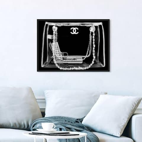 Oliver Gal 'Coveted Spy Bag Noir' Fashion and Glam Wall Art Framed Canvas Print Handbags - Black, White