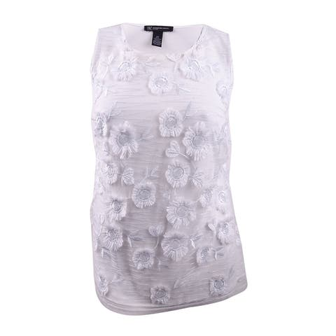 INC International Concepts Women's Plus Size Floral-Embellished Top - White