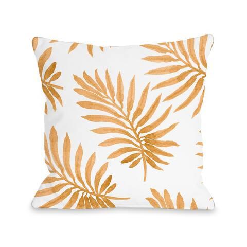 Vibrant Palm - Orange Throw Pillow