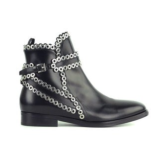 Alaia Women's Eyelet-embellished black glossed-leather boots