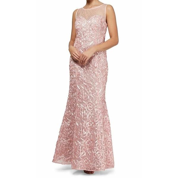 SLNY Pink Soutache Mesh Imitation Pearl 12 Mermaid Gown Dress