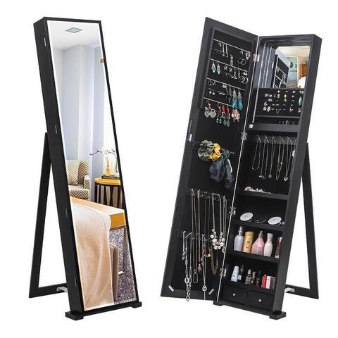 Mirror Jewelry Cabinet Armoire, Freestanding Lockable Storage Organizer