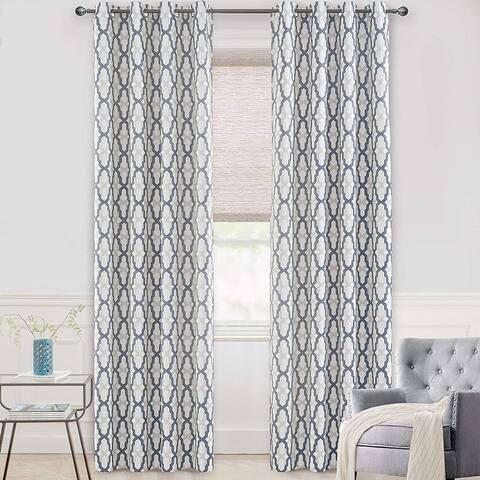 DriftAway Mason/Geo Thermal Insulated Blackout Grommet Window Curtain Panel Pair