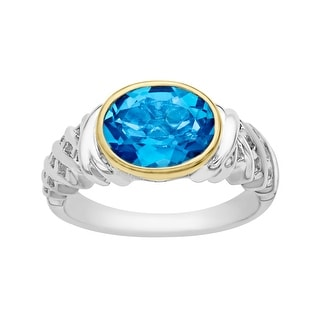 3 1/10 ct Swiss Blue Topaz Ring in Sterling Silver and 10K Gold